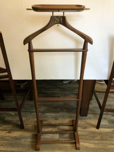 Vintage NEVCO Mens Butler Valet Suit Italian Walnut Brass Detail Stand Hanger