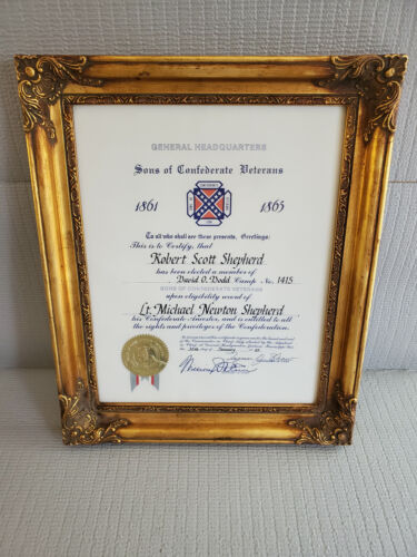 Sons of Confederate Veterans Certificate Gilt Frame 14