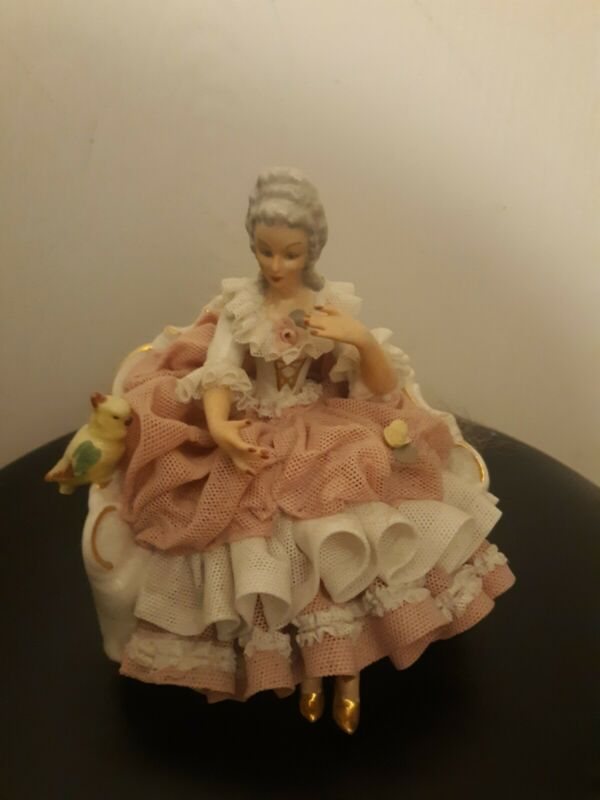 Vintage German Dresden porcelain lace figurine group ballerina Marked parrot