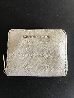 Michael Kors Purse Grey Silver Zip Around