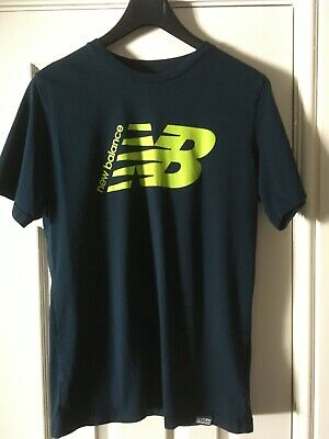 New Balance Navy Blue Round Neck T Shirt with Lime Green Logo L