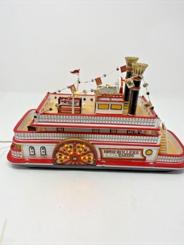 Vintage DEPT 56 SNOW VILLAGE HIGH ROLLERS RIVERBOAT CASINO in box working 2003