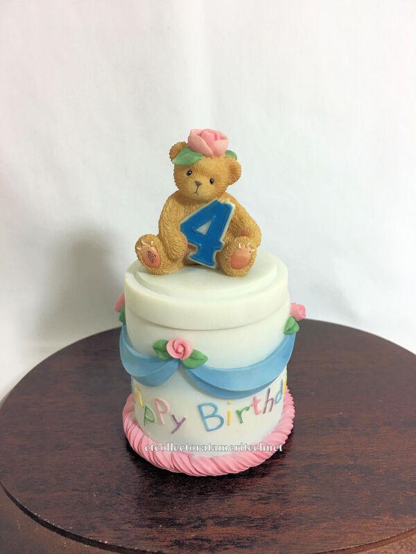 Cherished Teddies Covered Box Birthday Age 4  2001 NIB