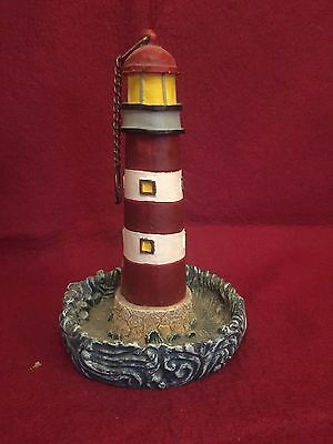 Lighthouse Wall Hanging figurine With Chain Bird Feeder 6.5 in high Vtg