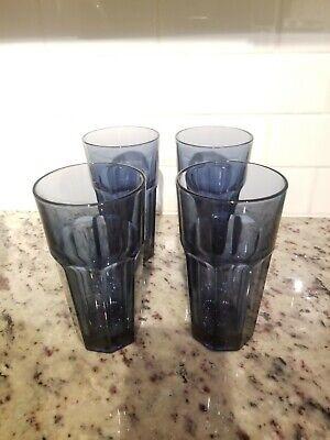 4 Libbey GIBRALTAR Duratuff Dusky BLUE  Tumbler Glasses
