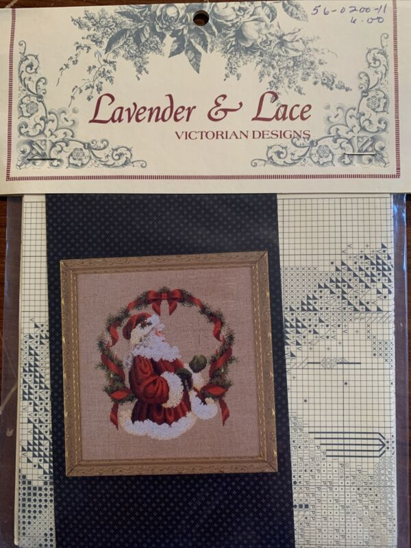 "1990 Lavender & Lace Cross Stitch Leaflet ""The Spirit Of Christmas"" Santa Wreath"