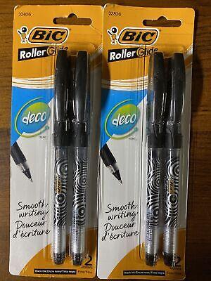 Bic Roller Glide Deco Roller Ball Pen Fine Point 0.7 Mm Black 2-count X2