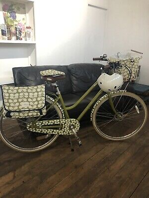 "Designer Orla Kiely Bike, Basket, Helmet & Pannier Olive And Orange Range 17"""