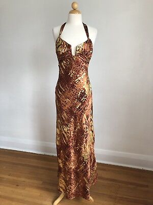 NWOT MARY. L Couture Silk Animal Print w/ Gold Halter Evening Gown Formalwear -