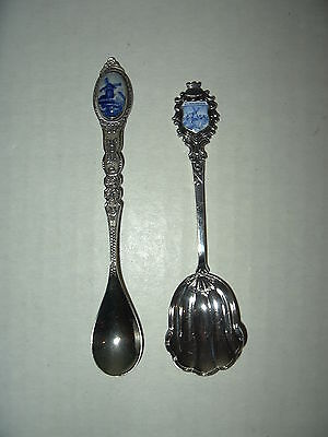 12 piece Set Signed Silver or Silver Plated Blue Delft Porcelain Cabochon Silver Souvenir Collector Spoons CC Brand New in Display Box