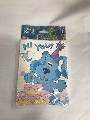BLUES CLUES (8) INVITATIONS PARTY BIRTHDAY SUPPLY &THANK YOU CARDS