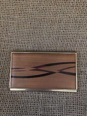 Vintage Davin Kesler Solid Brass Wood Business Card Holder