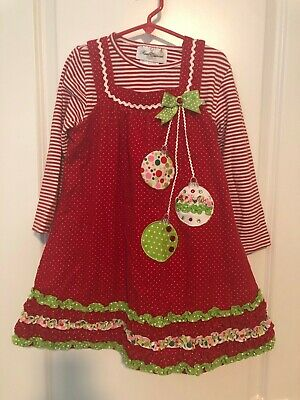 RARE EDITIONS RED WHITE CORDUROY CHRISTMAS ORNAMENT JUMPER DRESS - GIRLS SZ 6