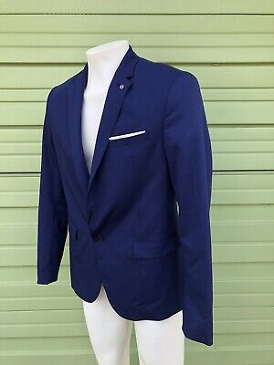 NWT ZARA MAN Navy BLUE STRETCH SUIT JACKET WITH SHEEN SIZE 42 $119 #845