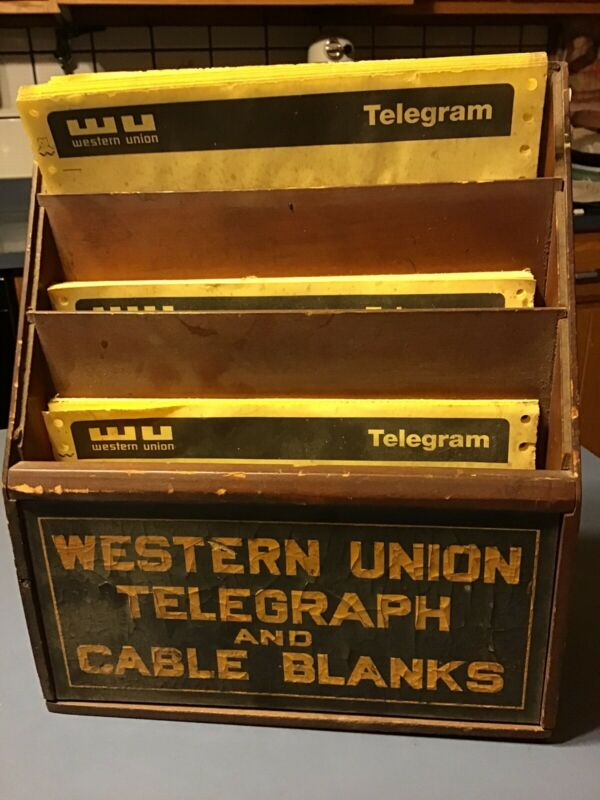 Western Union Telegraph Counter Display With Blanks