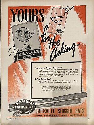 Vintage 1949 Louisville Slugger Advertisement Baseball Bats