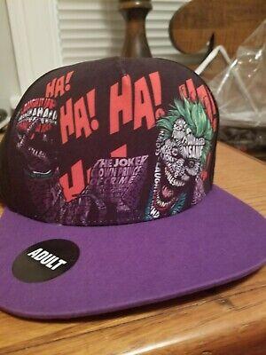 Adult THE JOKER Snapback Mens HAT / CAP, DC Comics, Free Shipping (Adult Joker)