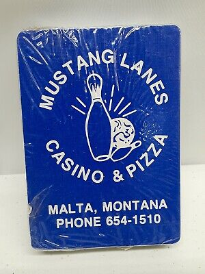 Vintage Mustang Lanes Casino & Pizza Malta Montana Playing Cards Blue New