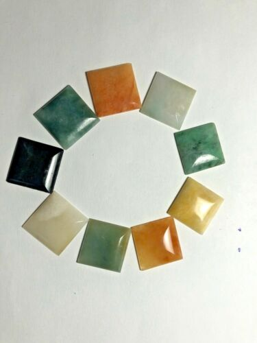 VINTAGE SQUARE 20mm Natural Jade Cabs Lot of Nine (9) Pieces Assorted Colors