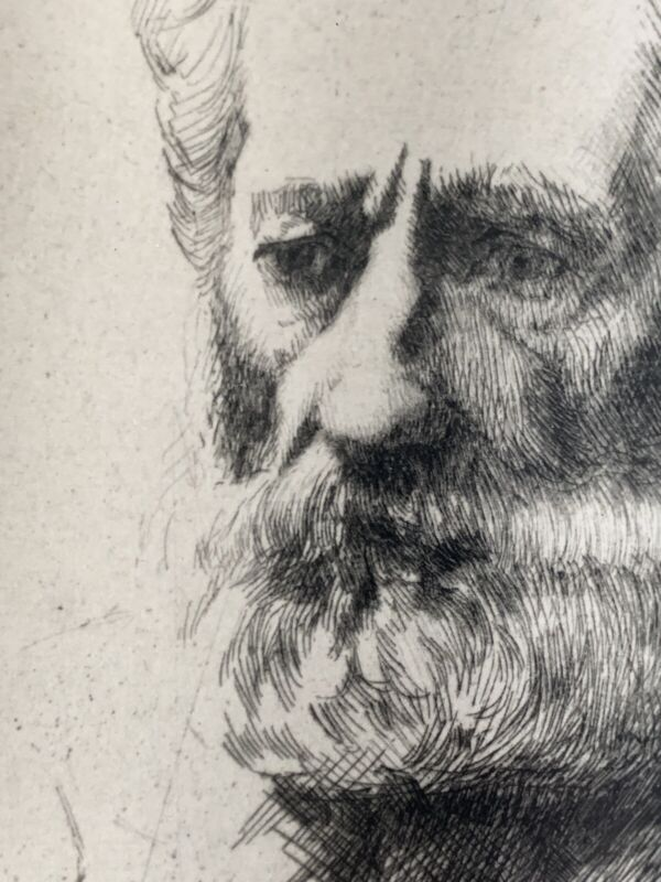 """William Auerbach Levy signed etching """"A Portrait Study"""""""