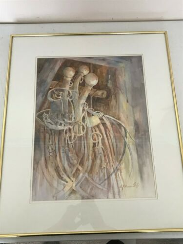 "FRAMED WATERCOLOR BRIDLE WEAR HORSES WESTERN HARNESS SIGNED FREASE OWS 26"" x 22"""