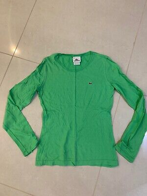 Lacoste Women Cotton Green Crew neck Long Sleeves Top Size 38 / Small