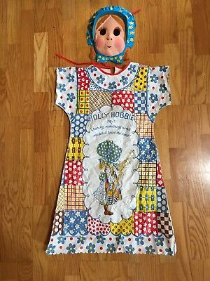 VINTAGE 1982 BEN COOPER HOLLY HOBBIE COSTUME AND MASK CHILD MEDIUM - Holly Hobbie Halloween Costume
