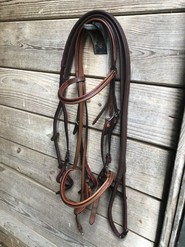 Vespucci Fancy Raised Padded Bridle with Reins - Cob Size
