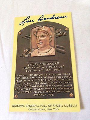 Lou Boudreau VINTAGE HAND SIGNED HOF Plaque w/COA