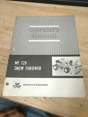 Original Oem Massey Ferguson Garden Tractor Mf 720 Snow Thrower Operators Manual