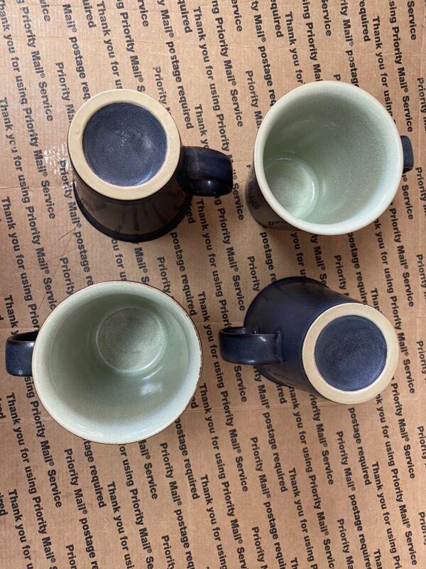 4 Denby Speckled Green Mugs