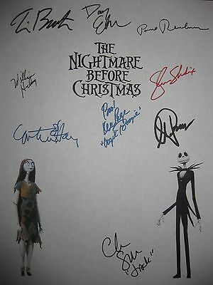 The Nightmare Before Christmas Signed Script X9 Danny Elfman Tim Burton reprint