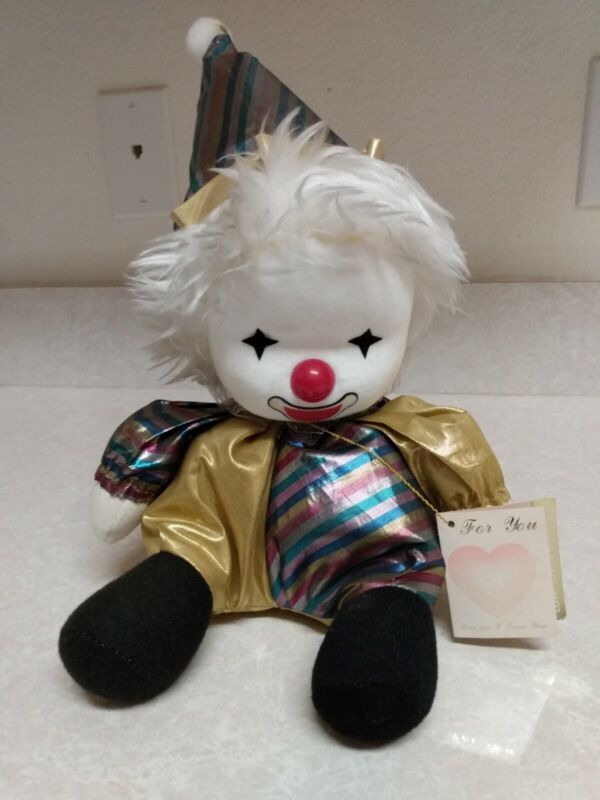 Poter Clown 1986 Musical Wind Up Doll Toy Gold Stripes Tag Still Attached ~ FLAW