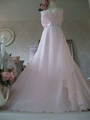 Jenny Packham NEW size 18 pink chiffon beaded maxi bridesmaid dress prom cruise