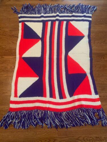 Vintage Hand Crochet Geometric Red White Blue Afghan Blanket Throw 41x56 Fringe