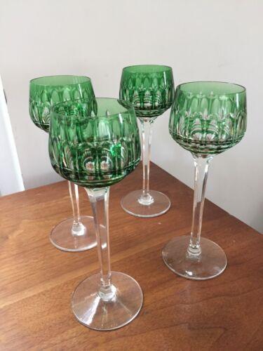 St Saint Louis Crystal MANHATTAN - Vintage Wine Goblets, Green, Set of 4