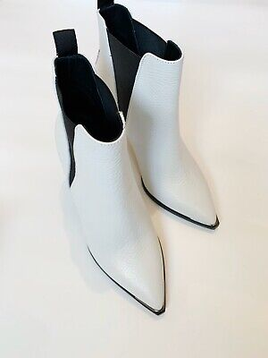 NEW Acne Studios Jemma Textured White Leather Ankle Boots Size 38 Original $570.