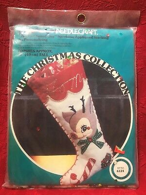 "Paragon Needlecraft Sparkling Appliqued Stocking ""The Red Nosed One"" NIP"