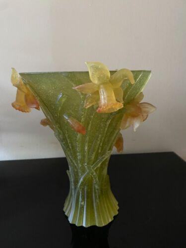 """Daum Jonquille Daffodils large vase 9.75"""""""