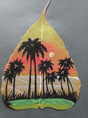 Peepal leaf-hand painted -palm trees-India