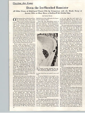 1934 Paper Ad Article Down the Ice-Sheathed Bannister  Bobsled Run George Trevor