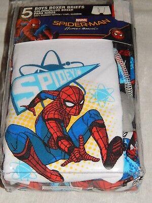 NEW Spiderman Movie Underwear 5 Pair Comic Book Figure Boxer Briefs Boys 4 6 8