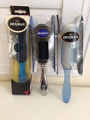 (DENMAN Hair Brush Made in UK Classic Styling Plastic YOU PICK Colorful Authentic)