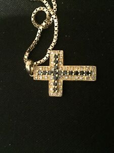 white and black diamond cross whit solid chain