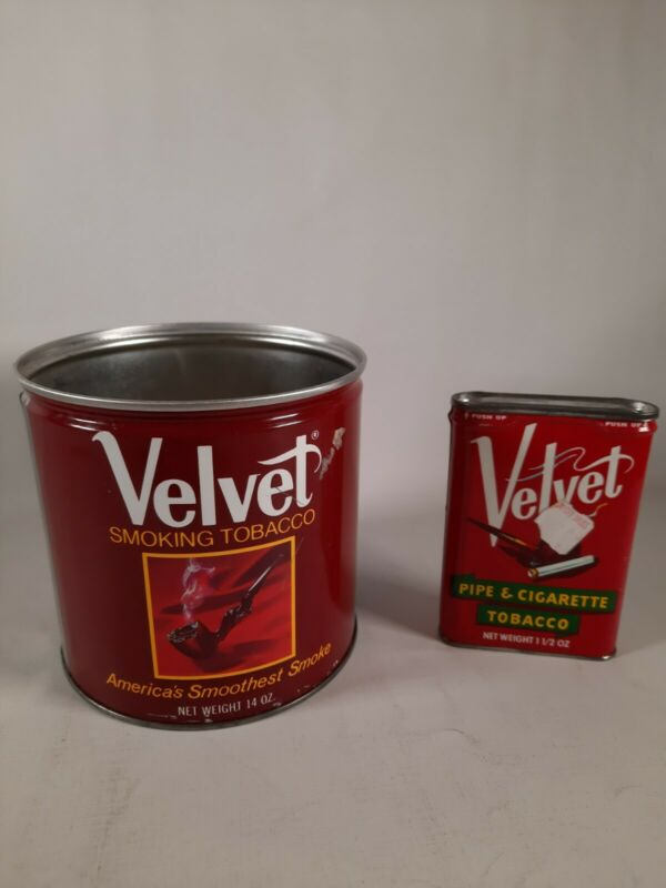 Lot of 2 Vintage VELVET  Pipe & Cigarette Tobacco Tin Antique Can and pocket can