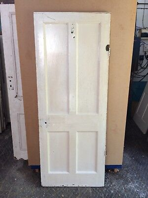 """Antique Reclaimed Pine 4 Panelled Door 30"""" X 76 1/2"""" X 1 1/4"""""""