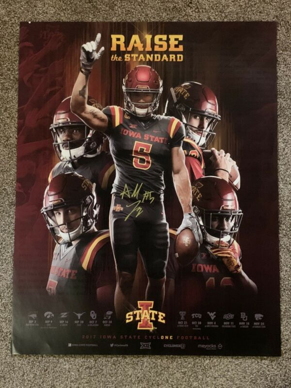 ALLEN LAZARD HAND SIGNED TEAM POSTER IOWA STATE CYCLONES FOOTBALL AUTHENTIC COA