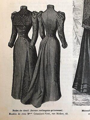 MODE ILLUSTREE SEWING PATTERN Aug 14,1892 MOURNING DRESS