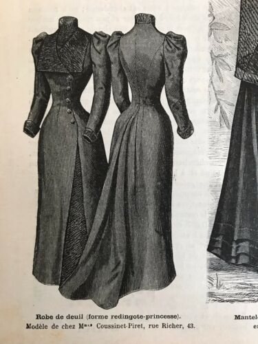 MODE ILLUSTREE SEWING PATTERN Aug 14,1892 MOURNING DRESS