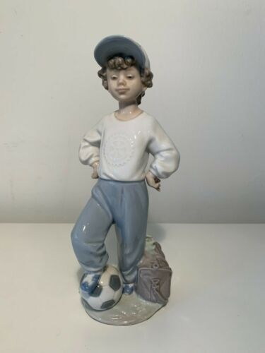 Lladro Boy with Soccer Ball, Spanish Porcelain Figurine